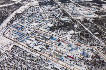 Vyngapurovsky is oilman's village in West Siberia, bird's eye view