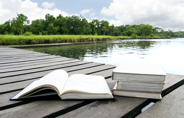 Books on the wood floor the bridge of waterside area adjoining lake or river in nature forest background with copy space for text. Concept for education.
