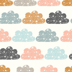 vector clouds and stars cream seamless repeat pattern background