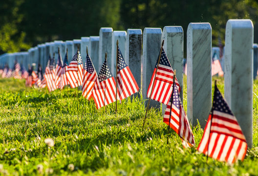 Veterans Cemetery with Flags