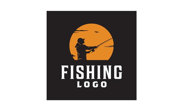 Angler Fishing Silhouette logo illustration at Sunset Outdoor design inspiration