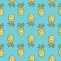 Vector Aqua Pineapple Seamless Pattern