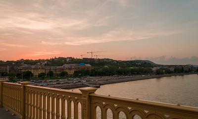 spring sunset in Budapest from Margaret bridge