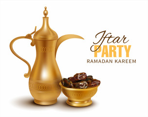 Ramadan Kareem background. Iftar party composition with traditional coffee pot and dried dates. Vector illustration.