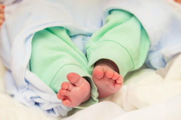 Little legs of a newborn baby