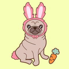 Kawaii illustration of a cute little chubby pug dog in a tiny pink bunny costume accompanied by a sweet yummy carrot. The background is clear yellow. How adorable is this?