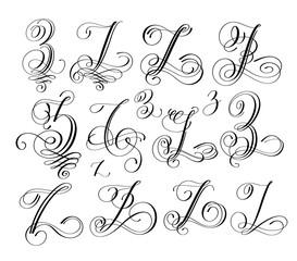 calligraphy lettering script font z set, hand written
