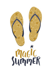 Magic summer. Golden flip flops with text on white background. Summer vector illustration.