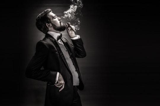 portrait of bearded smoking cigar gentleman in a suit