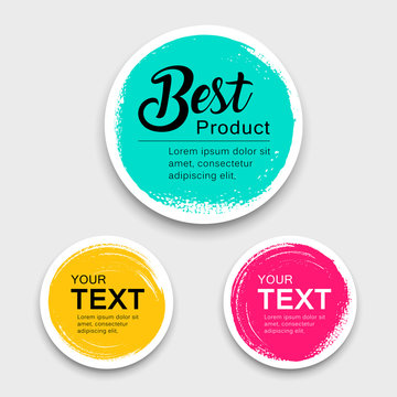 Colorful label paper circle brush stroke style collections, vector illustration