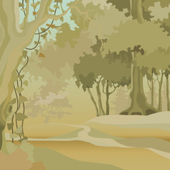 cartoon background of a forest with deciduous trees in an ocher green range