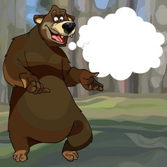 cartoon bear in the forest with a empty Speech Balloon