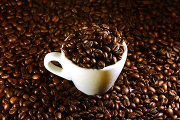 Coffee cup on a background of coffee beans
