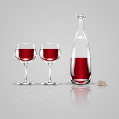 Bottle of wine and two glasses. Realistic vector illustration.