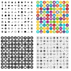 100 kettlebell icons set vector in 4 variant for any web design isolated on white