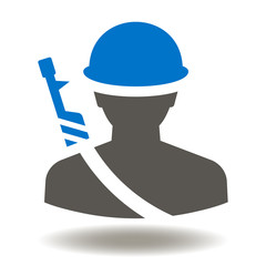 Soldier with Gun and Helmet Icon Vector. Soldiers Army Illustration. Military man with weapon and hard hat logo symbol.