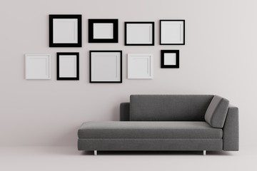 Blank picture frame for insert text or image inside on the wall in living room.