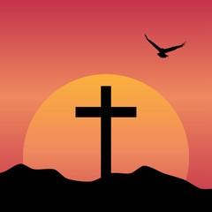 Black christian cross icon. Abstract line christian cross