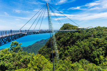 Modern construction - Sky bridge on Langkawi island. Adventure holiday. Tourist attraction of Malaysia. Travel concept. Wall mural