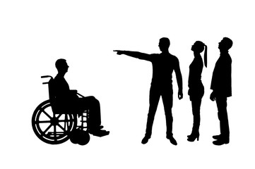 Silhouette vector. Crowd of people makes it clear to an invalid in a wheelchair that he must walk away