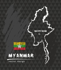 Map of Myanmar, Chalk sketch vector illustration