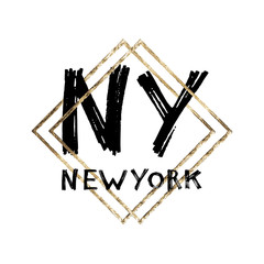 Typography slogan with gold frame. Hand drawn New York vector for t shirt printing.