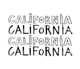 Typography slogan. Hand drawn California vector for t shirt printing.