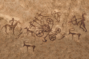 image of the hunt on the wall of the cave. ancient painting, art.
