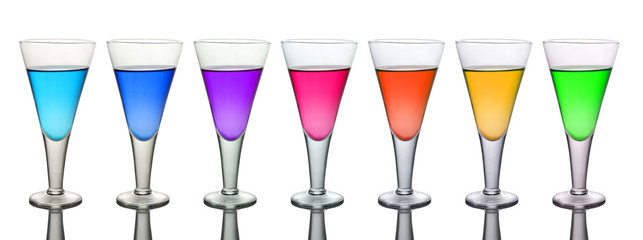 Seven Different Colored Wine Glasses isolated on White Background