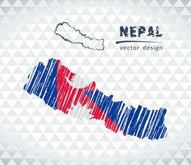 Nepal vector map with flag inside isolated on a white background. Sketch chalk hand drawn illustration