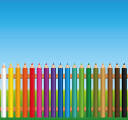 Colorful fence constructed from colored crayons - vector illustration on blue sky background.