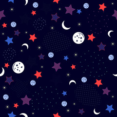 Cosmic pattern texture with star, planet and half moon design vector illustration, style