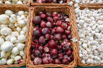 Red and white onions in plenty on display at local farmer