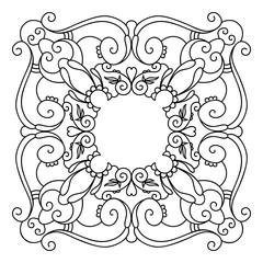 Decorative round lace frames in mandala style. Vector pattern isolated on white