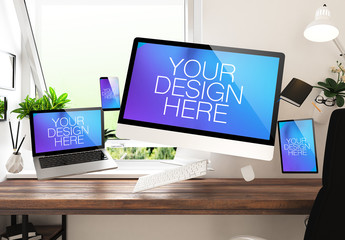 Floating Devices in Office Mockup