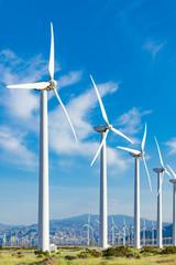Dramatic Wind Turbine Farm in the Desert of California.