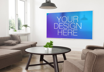 Smart TV in 3D Living Room Rendering Mockup