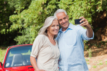 Cheerful mature couple taking pictures of themselves