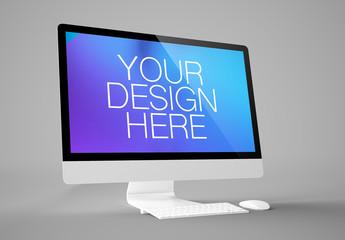 Desktop Computer on Gray Background Mockup