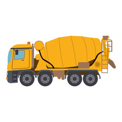 Concrete mixing truck vector. Flat design. Industrial transport. Construction machine.
