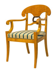 Antique Biedermeier style chair with wood carving