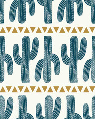 vector cactus stripe and triangles cream seamless repeat pattern background