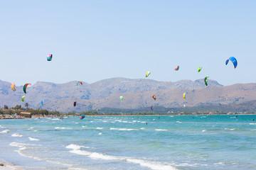 Alcudia, Mallorca - Kitesurfing action at the wonderful beach of Alcudia