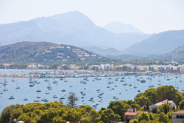 Port de Pollenca, Mallorca - Plenty of boats at the sea port of Port de Pollenca