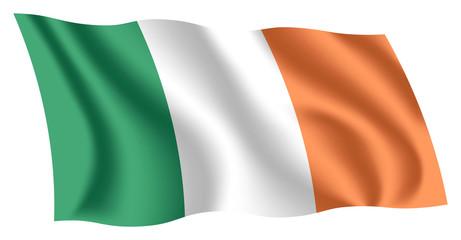 Ireland flag. Isolated national flag of Ireland. Waving flag of the Republic of Ireland. Fluttering textile irish flag. Irish tricolour.