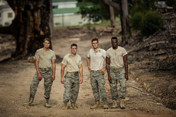 Soldiers standing in boot camp