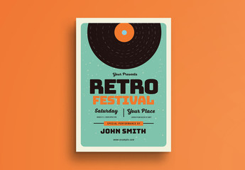 Retro Music Festival Flyer Layout with Vinyl Illustration