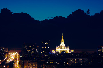 Night cityscape of Moscow.