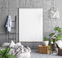 Mock up poster frame in hipster bedroom interior background, 3D render