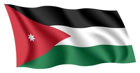 Jordan flag. Isolated national flag of Jordan. Waving flag of The Hashemite Kingdom of Jordan. Fluttering textile jordanian flag.